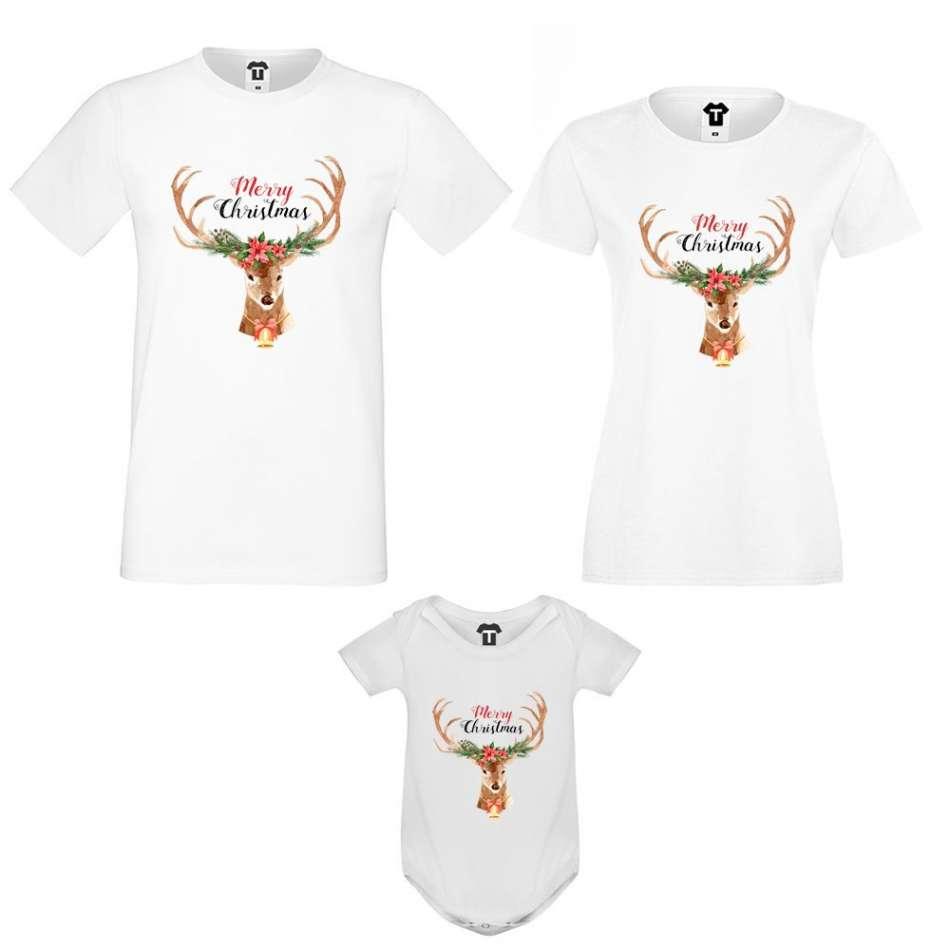 Set matka, otec a dítě Merry Christmas Deer Family