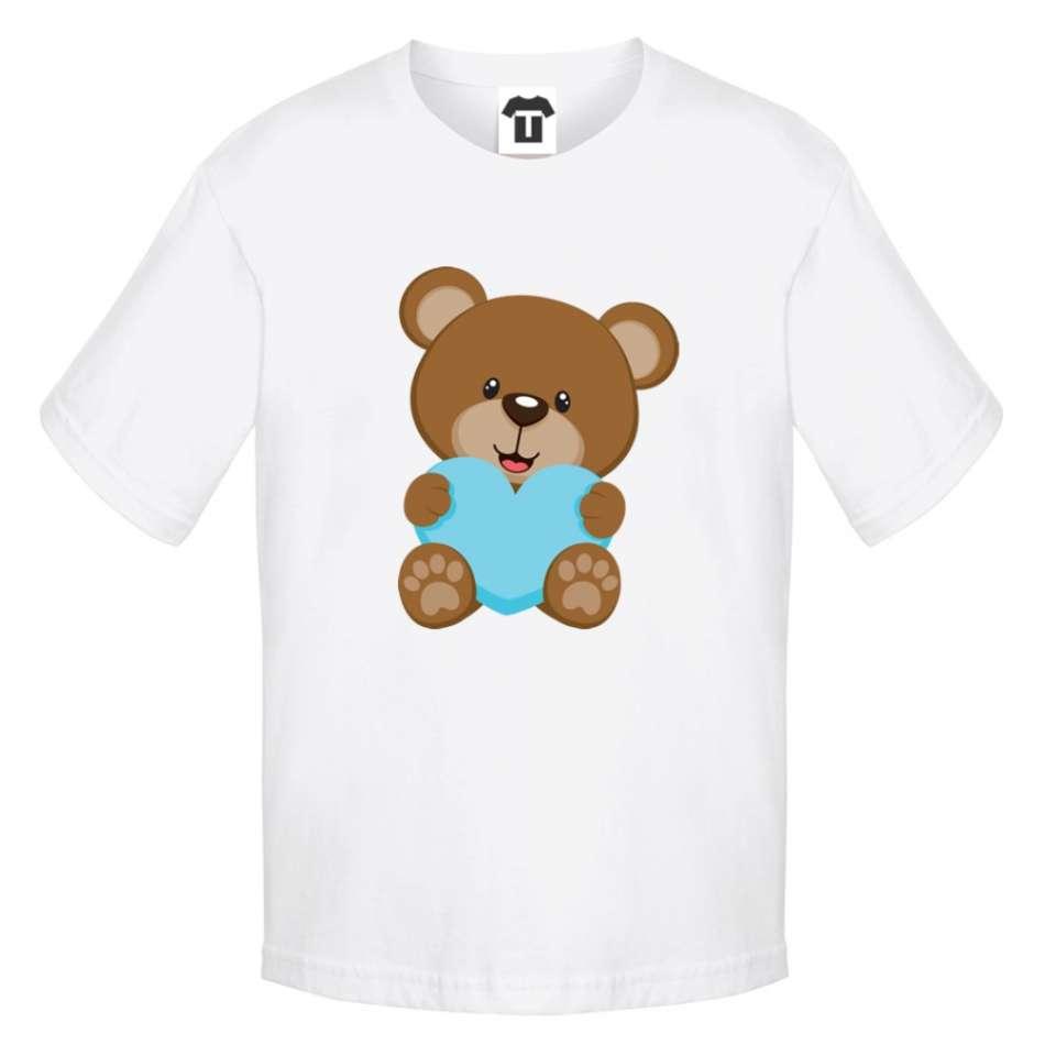 Dětské bílé tričko Bear - Blue Heart