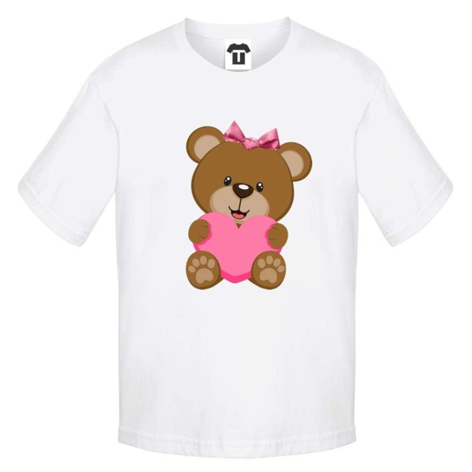 Dětské bílé tričko Bear - Pink Heart