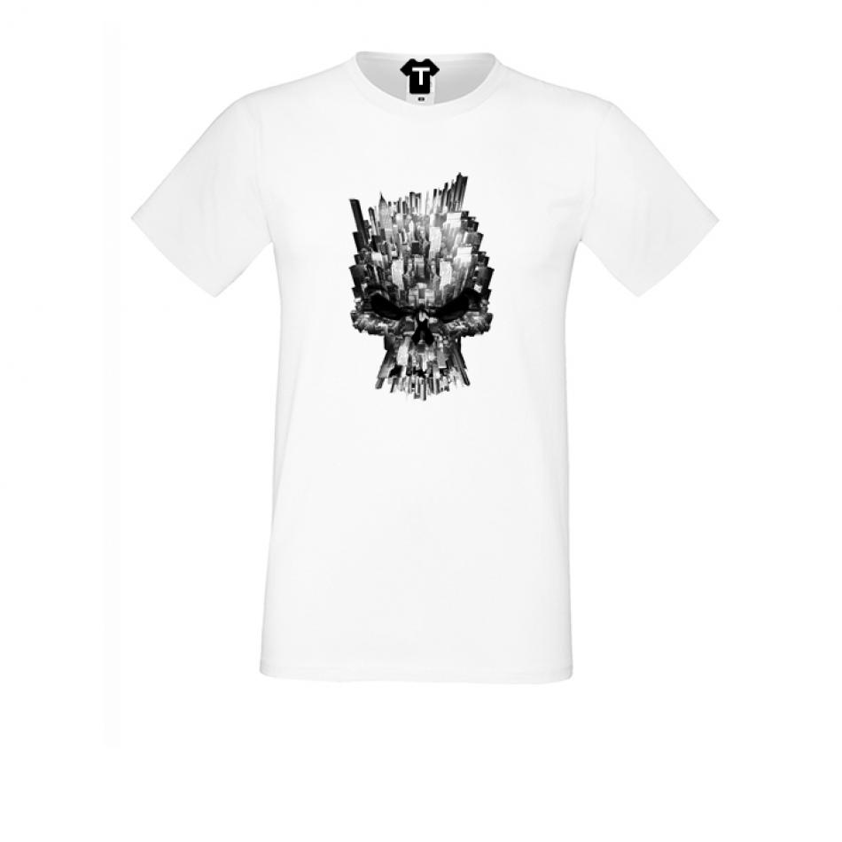 Bílé pánské triko s potiskem P-M-078
