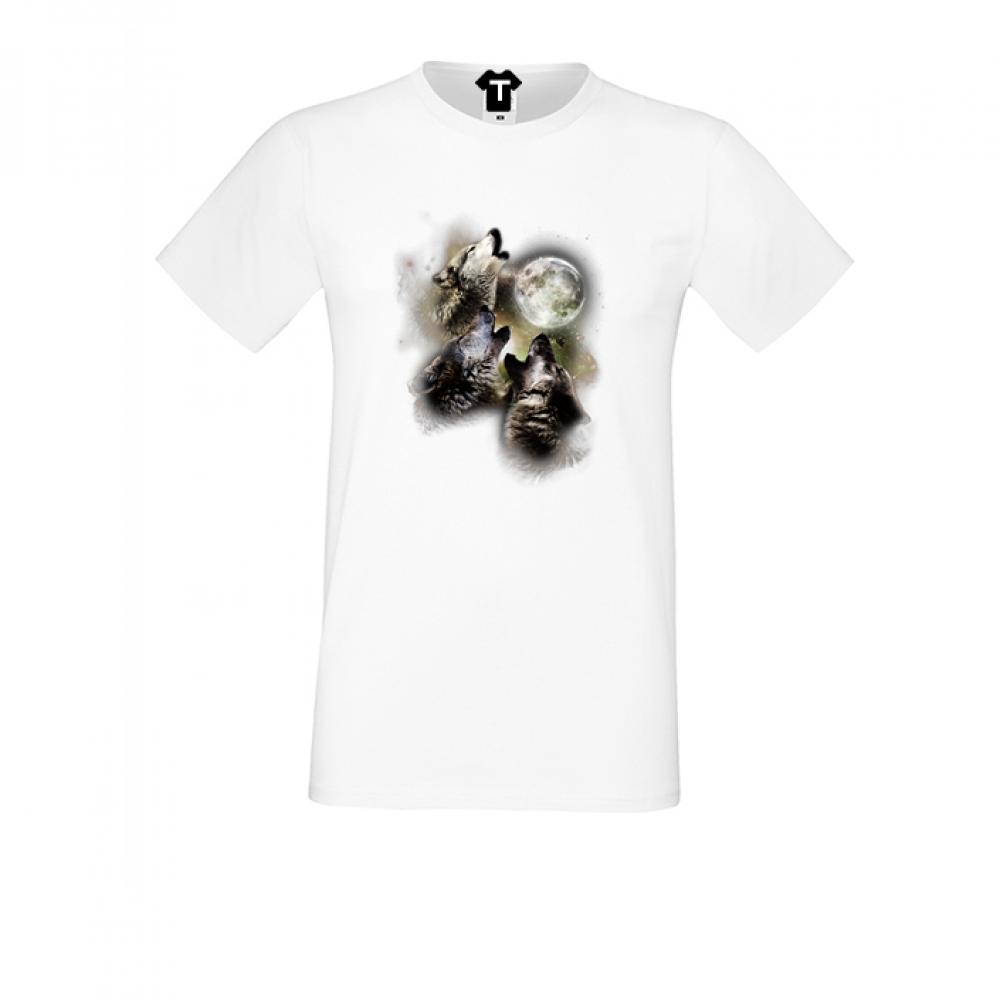Bílé pánské triko s potiskem P-M-082