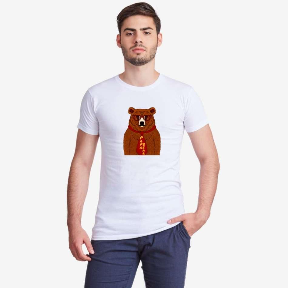 Bílé pánské tričko s potiskem Papa Bear Animated