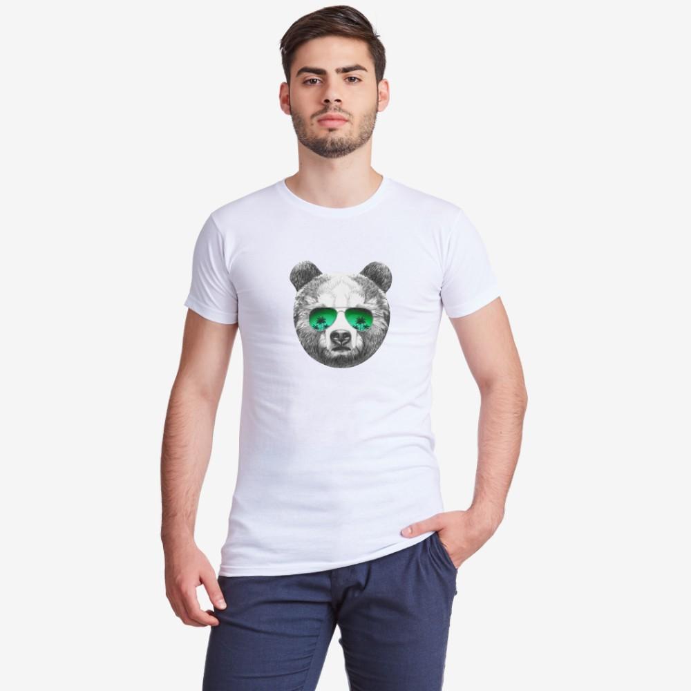 Bílé pánské tričko s potiskem Bear with Sunglasses