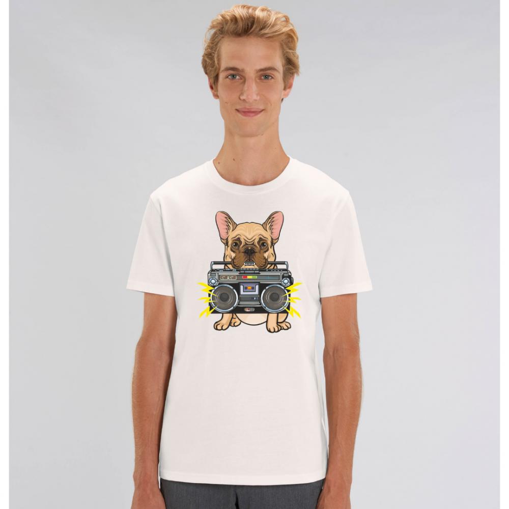 Bílé pánské tričko ze 100% organické bavlny  Music Dog