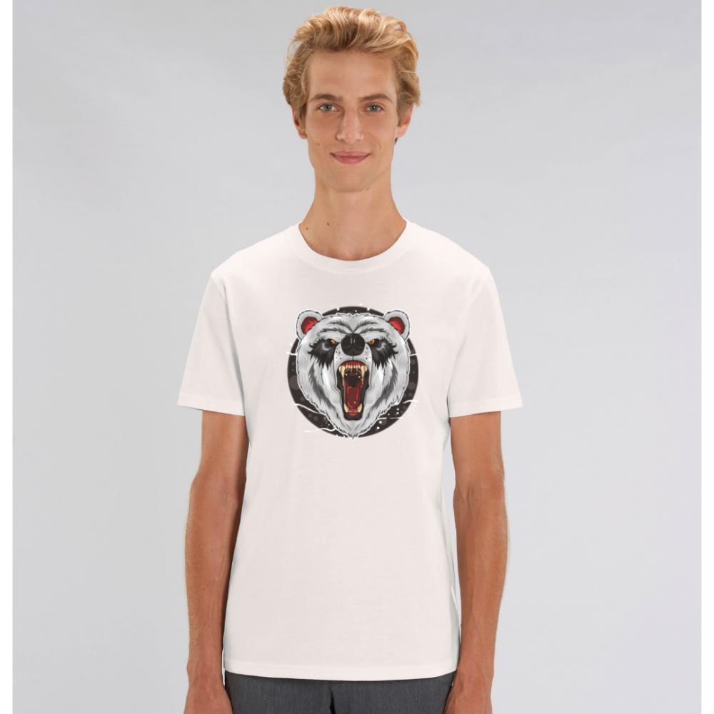 Bílé pánské tričko ze 100% organické bavlny Bear Roar Animiated