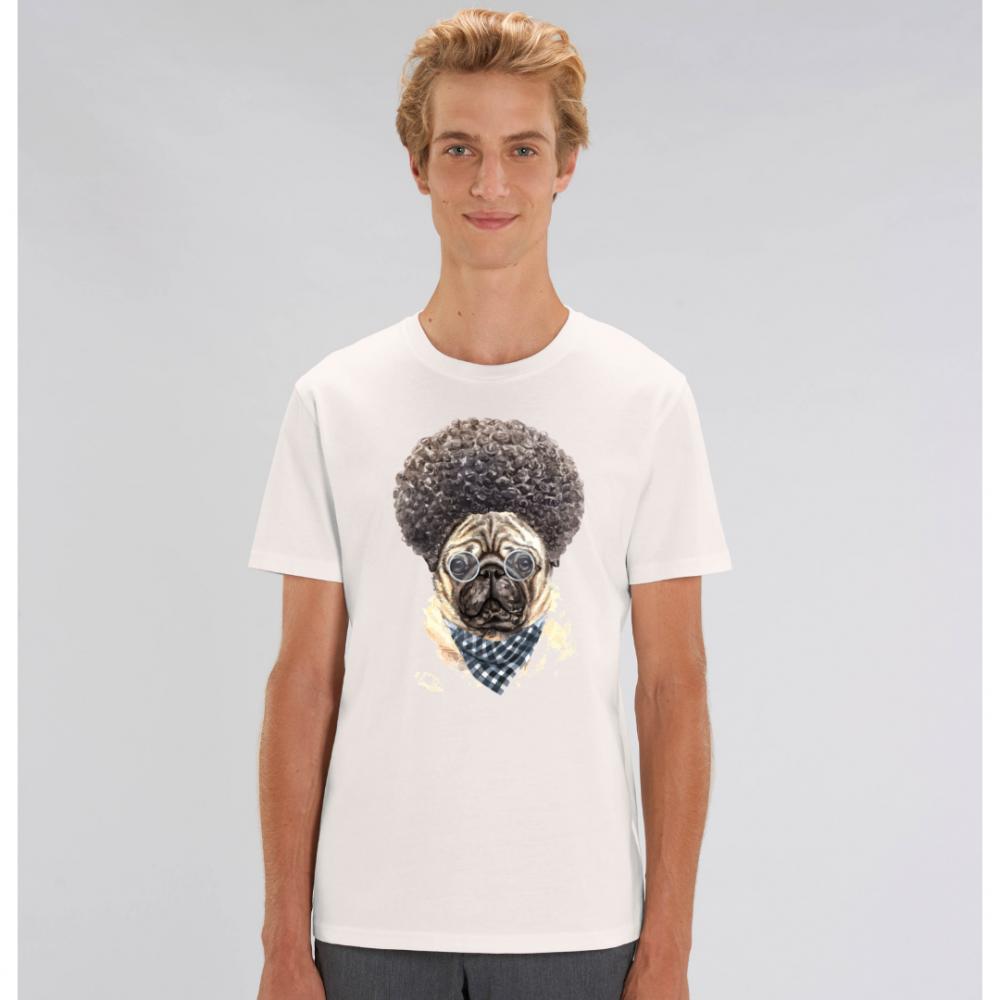 Bílé pánské tričko ze 100% organické bavlny Afro Dog