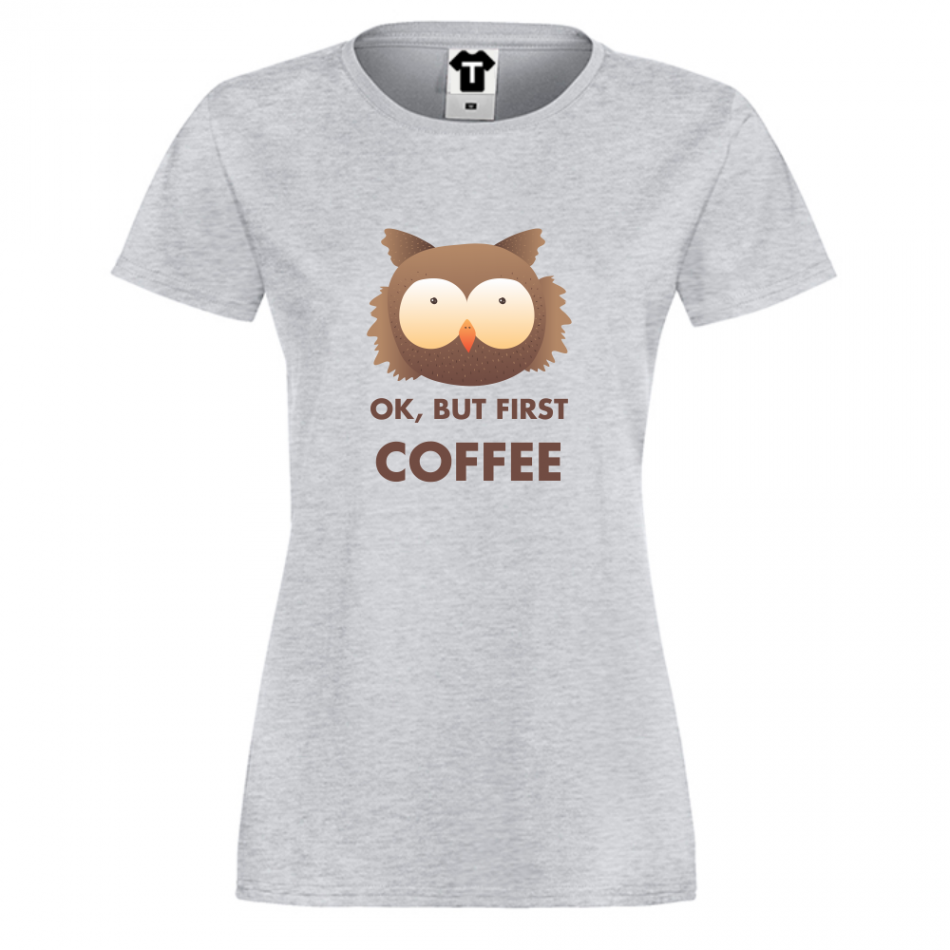 Šedé dámské triko Coffee First P-W-093G