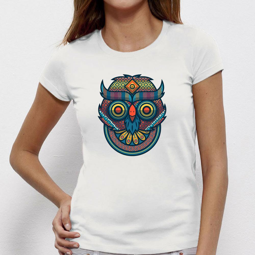 Damské tričko Tribal owl portrait P-W-151