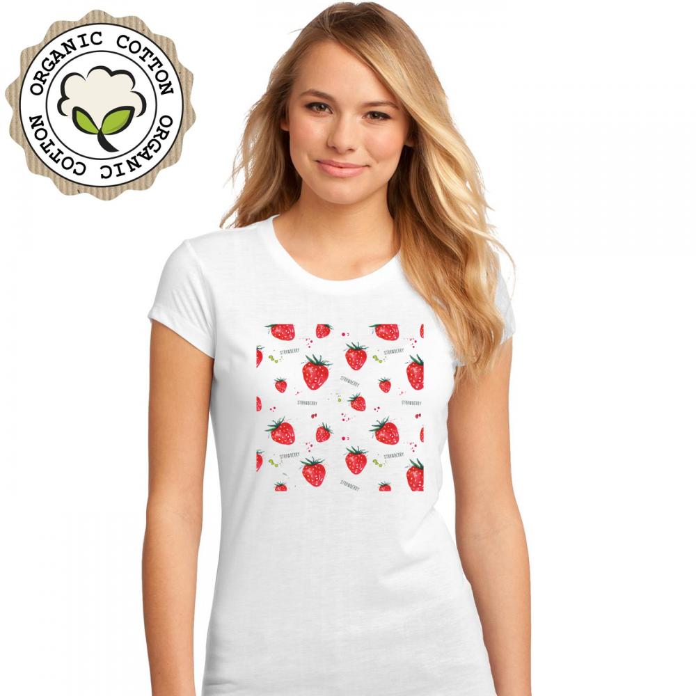 Dámské tričko Bílé Strawberries P-W-197