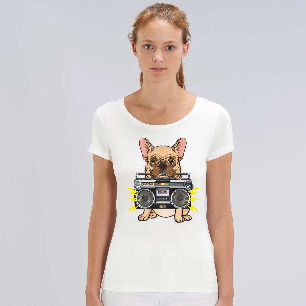 Bílé dámské tričko z organické bavlny Music Dog