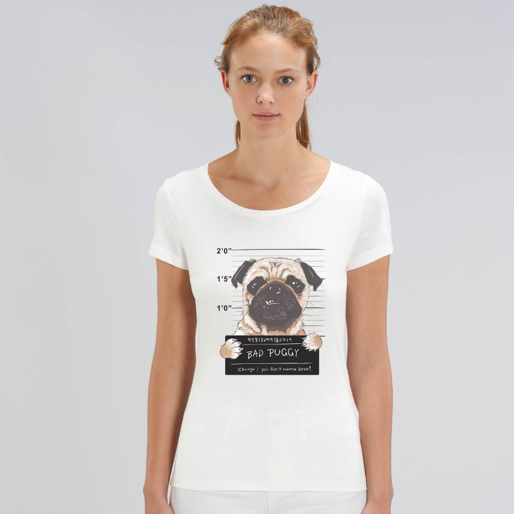 Bílé dámské tričko z organické bavlny  Bad Puggy