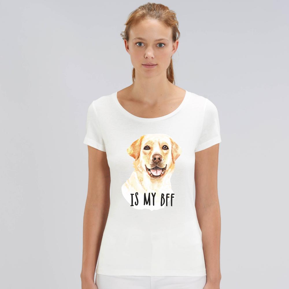 Bílé dámské tričko z organické bavlny  Dog BFF