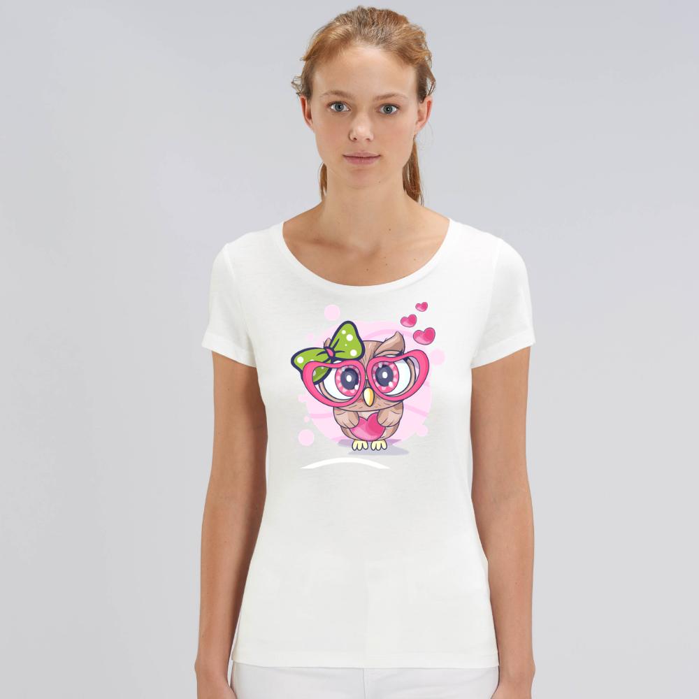 Bílé dámské tričko z organické bavlny  Owl in Love