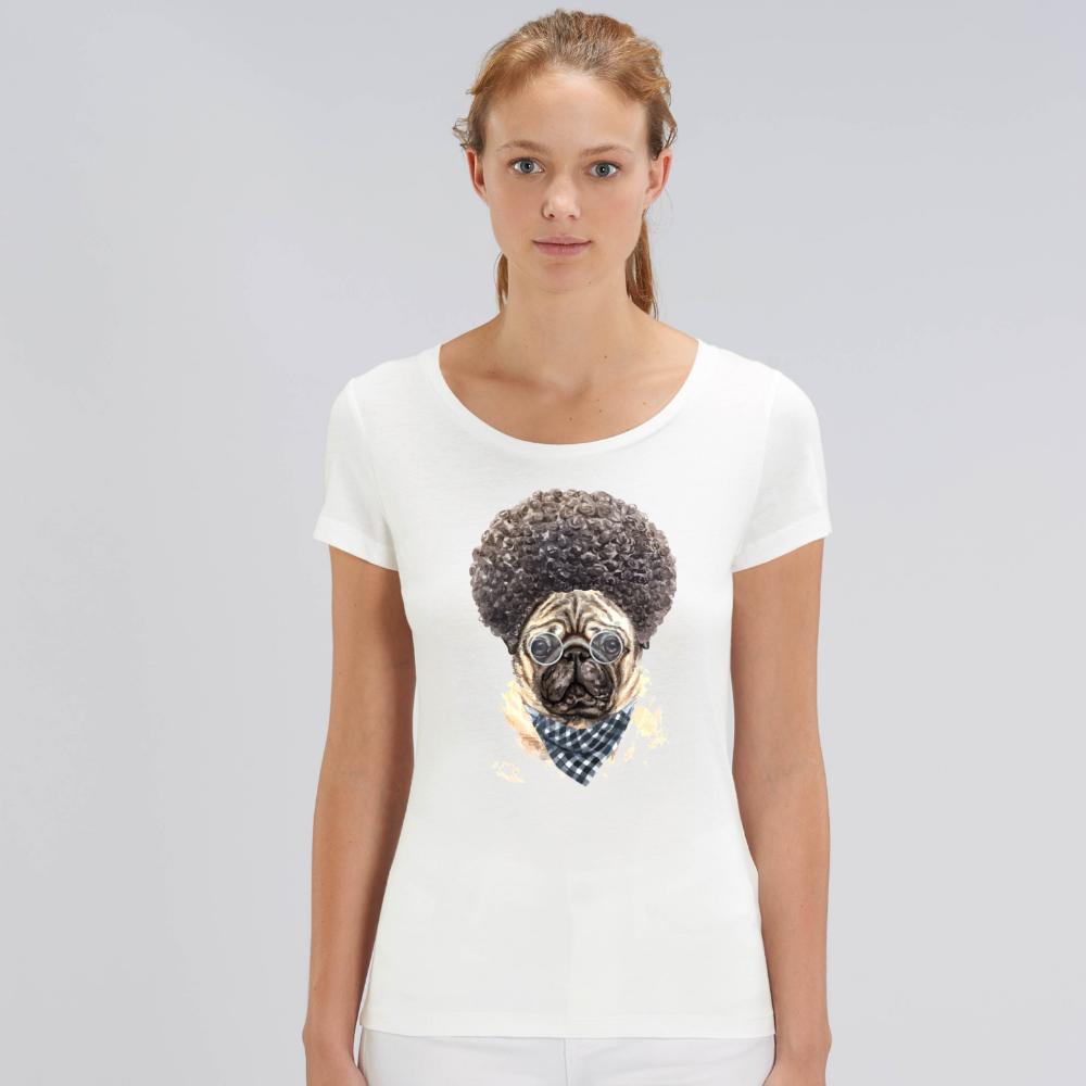 Bílé dámské tričko z organické bavlny  Afro Dog