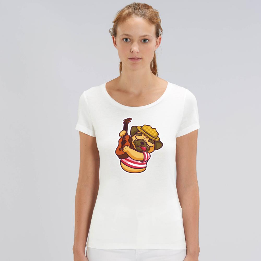 Bílé dámské tričko z organické bavlny  Guitar Dog
