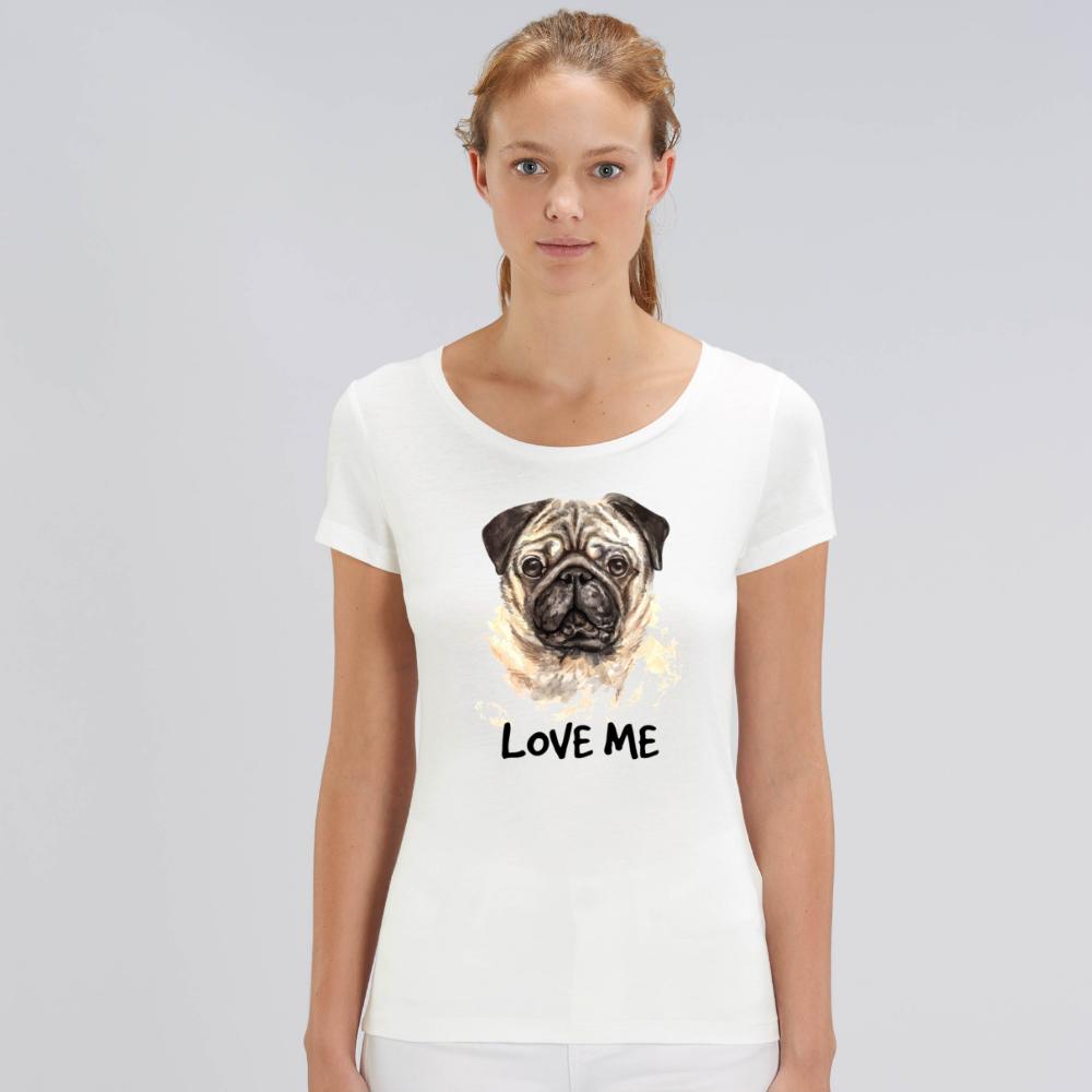Bílé dámské tričko z organické bavlny  Love me Dog