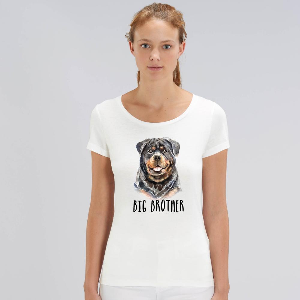 Bílé dámské tričko z organické bavlny  Dog Big Brother