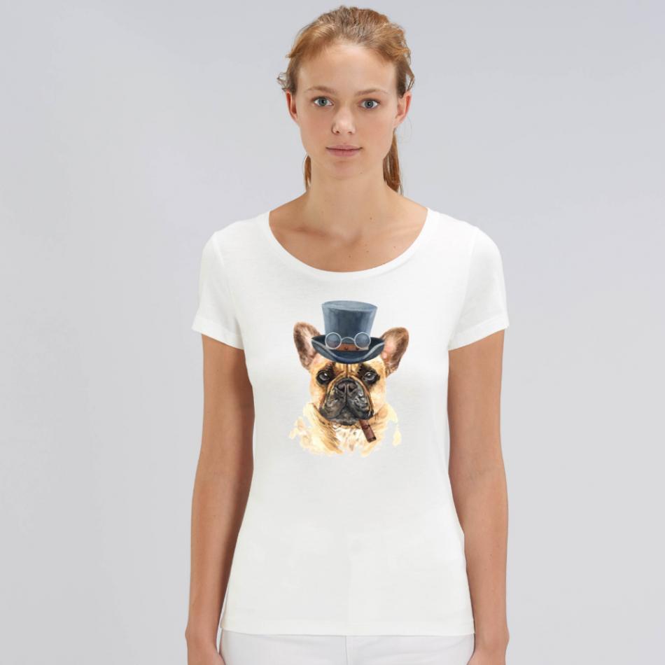 Bílé dámské tričko z organické bavlny  Dog with a cigar