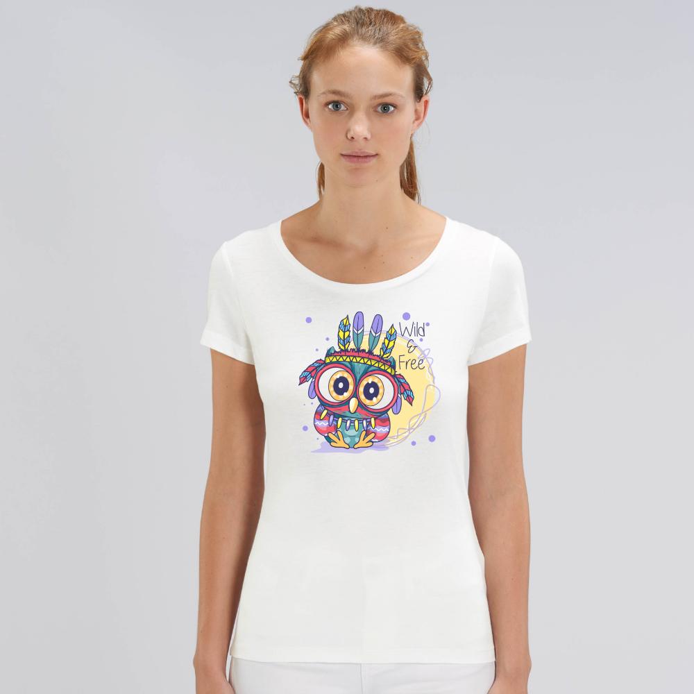 Bílé dámské tričko z organické bavlny Wild and free owl