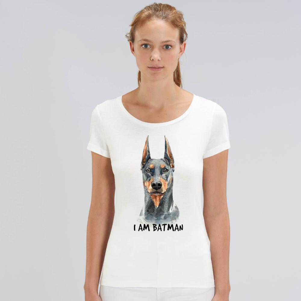 Bílé dámské tričko z organické bavlny  I am Batman Dog