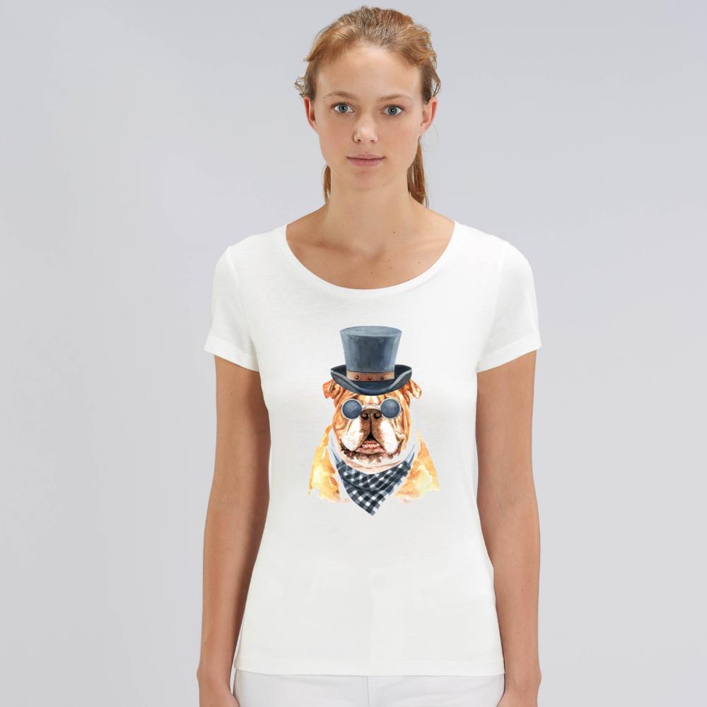Bílé dámské tričko z organické bavlny  Gentleman Dog