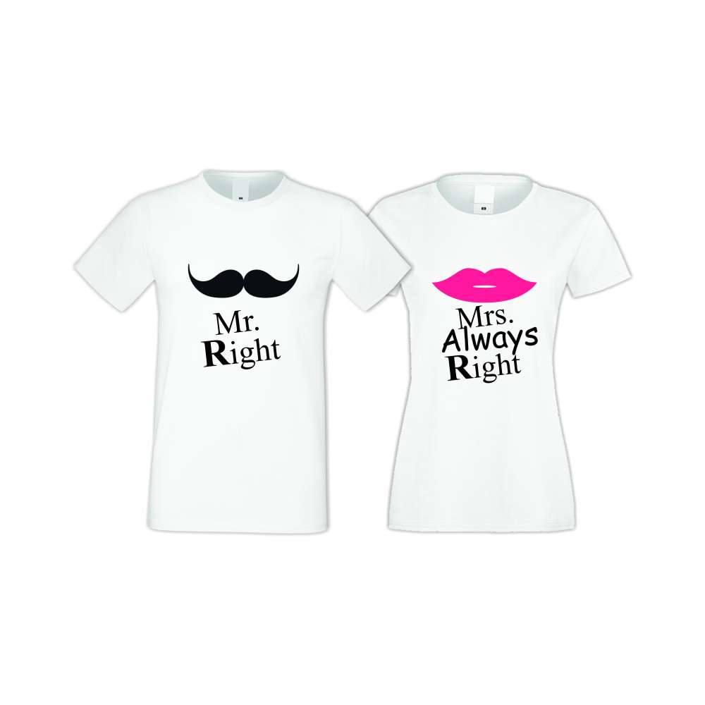 Trička pro pary Mr Right Mrs Always Right  S-CP-007