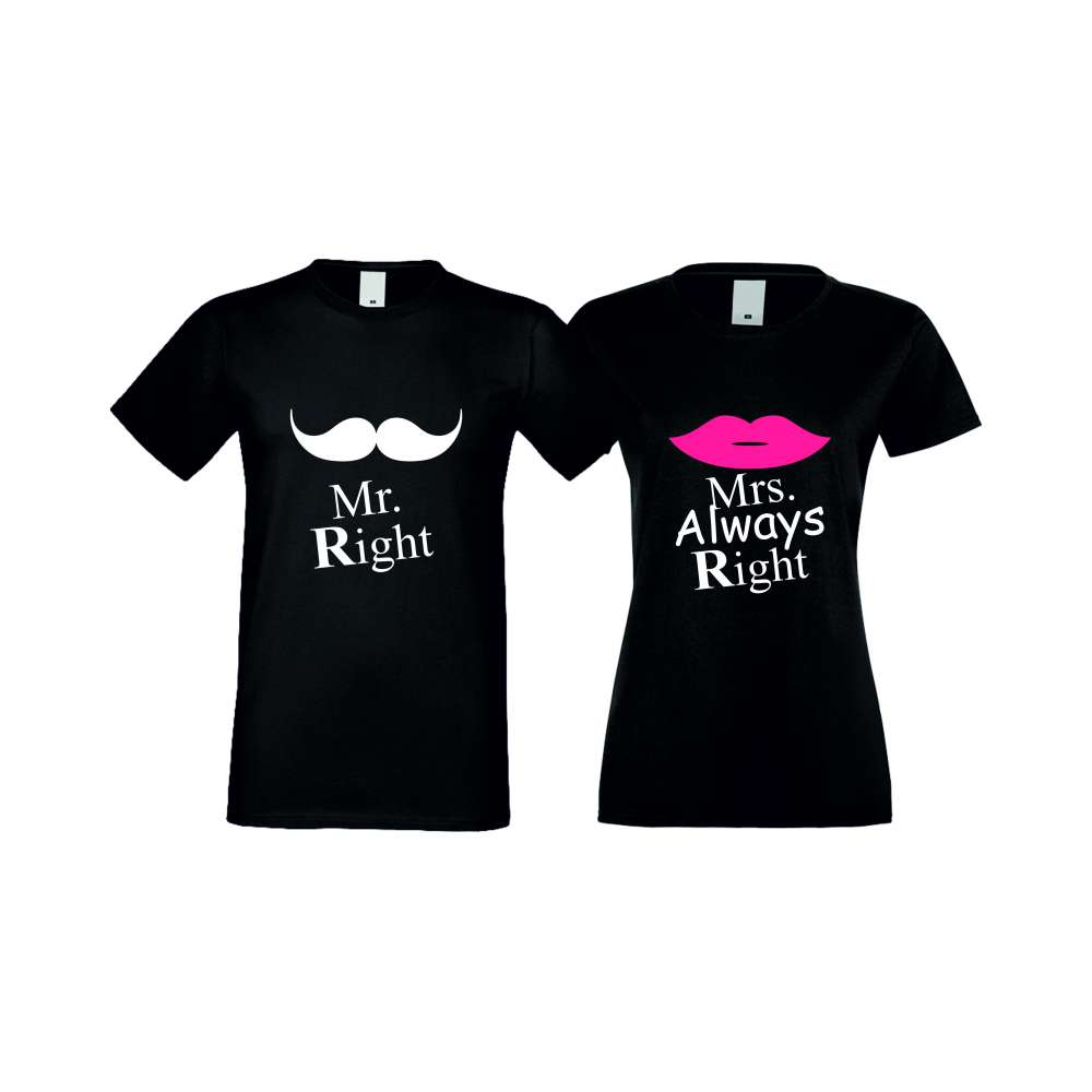 Trička pro pary Mr Right Mrs Always Right crna S-CP-007B