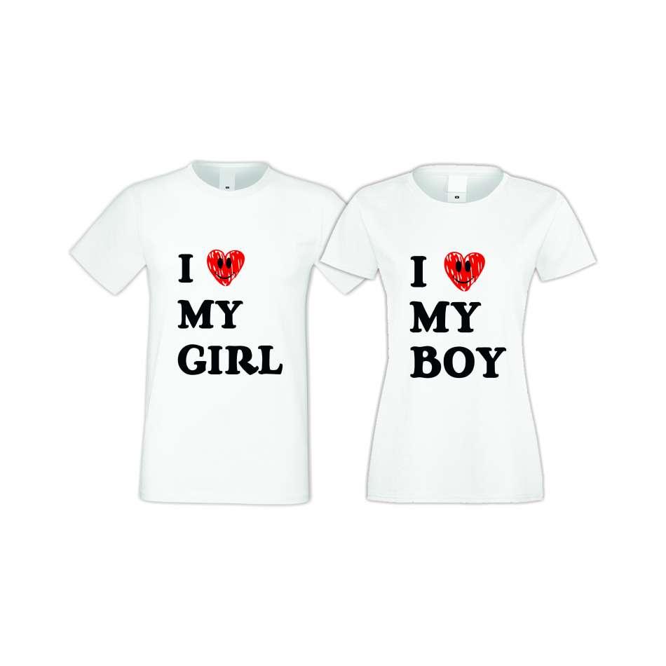 Trička pro pary I LOVE MY BOY-GIRL  S-CP-021