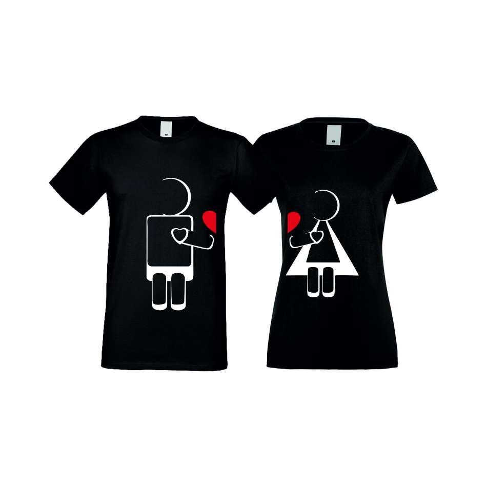 Trička pro pary ROBOT LOVE crna S-CP-022B