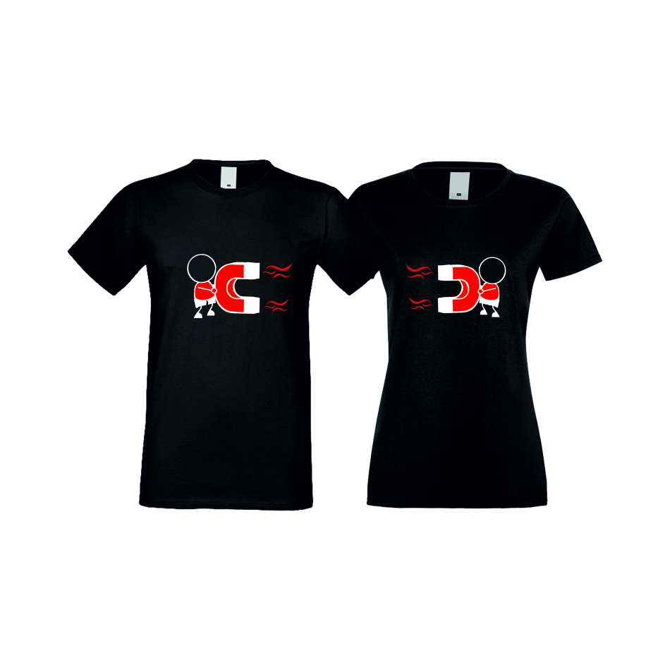 Trička pro pary MAGNETS LOVE černá S-CP-025B