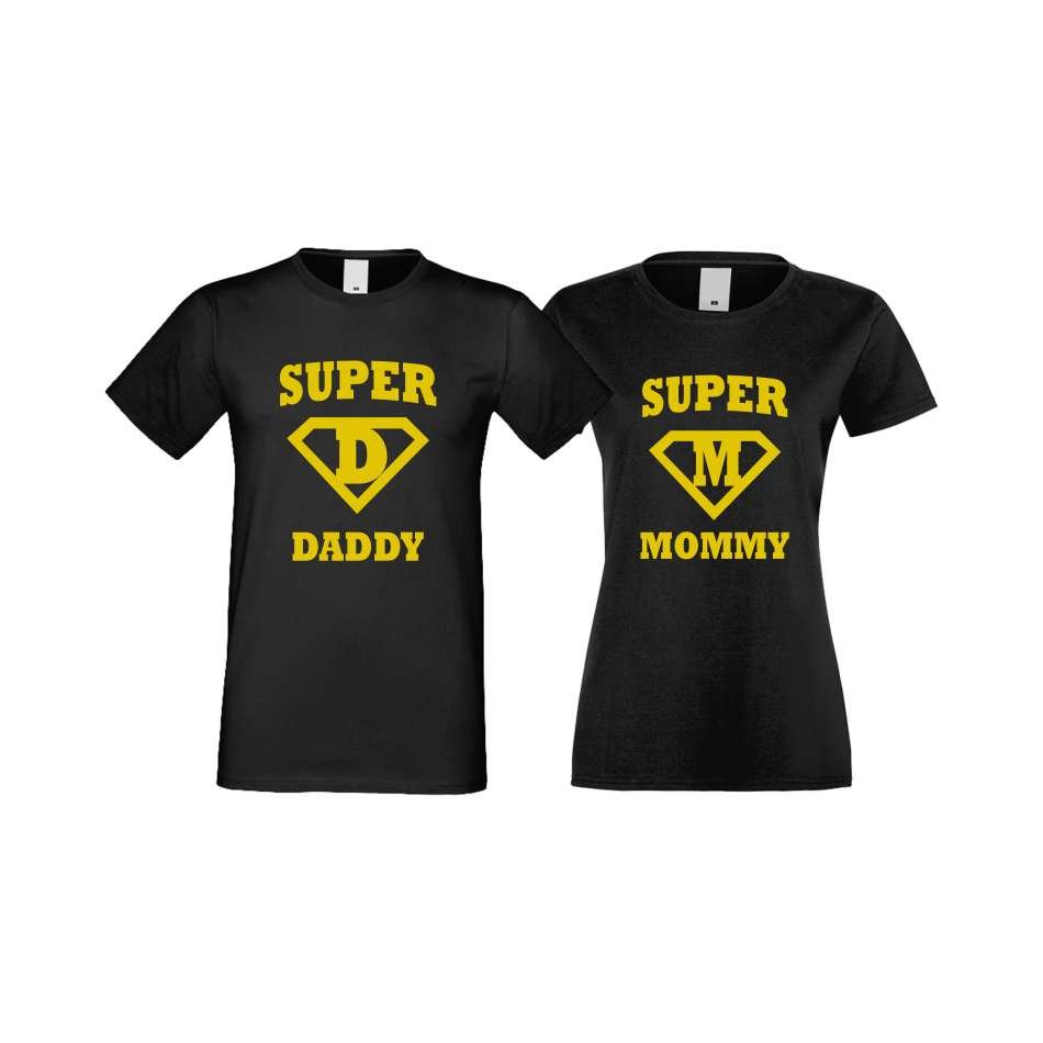 Trička pro pary SuperDaddy - Super Mommy crna S-CP-115B
