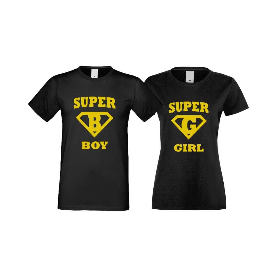 Trička pro pary SuperBoy - SuperGirl crna S-CP-116B