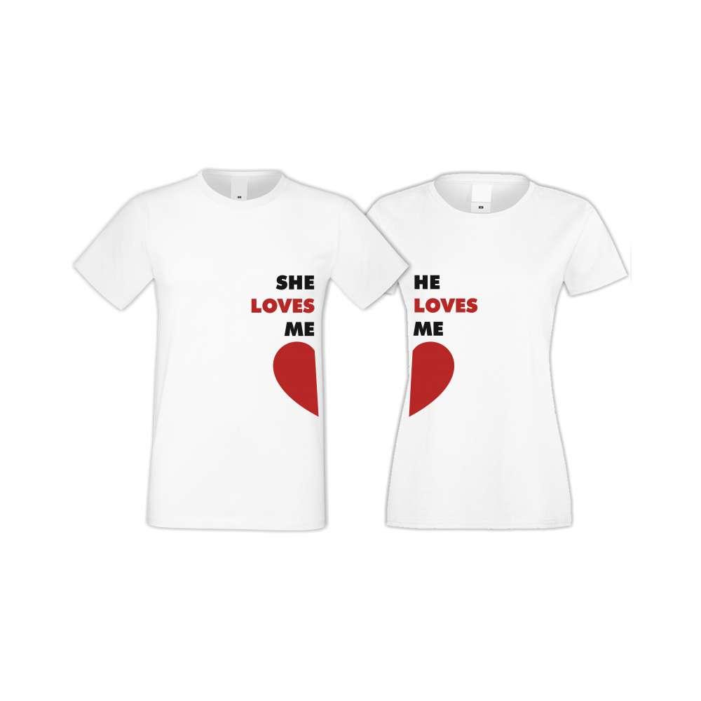 Trička pro pary She Loves Me - He Loves Me  S-CP-117