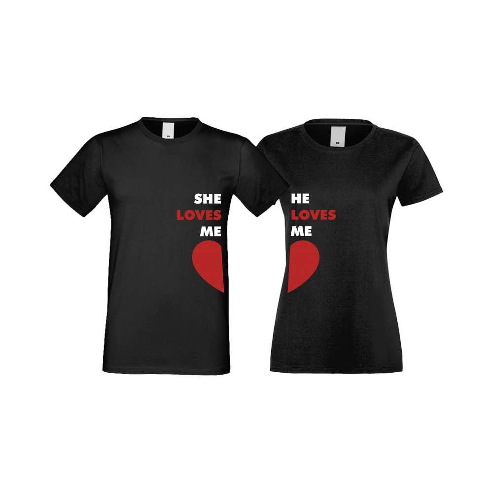 Trička pro pary She Loves Me - He Loves Me crna S-CP-117B