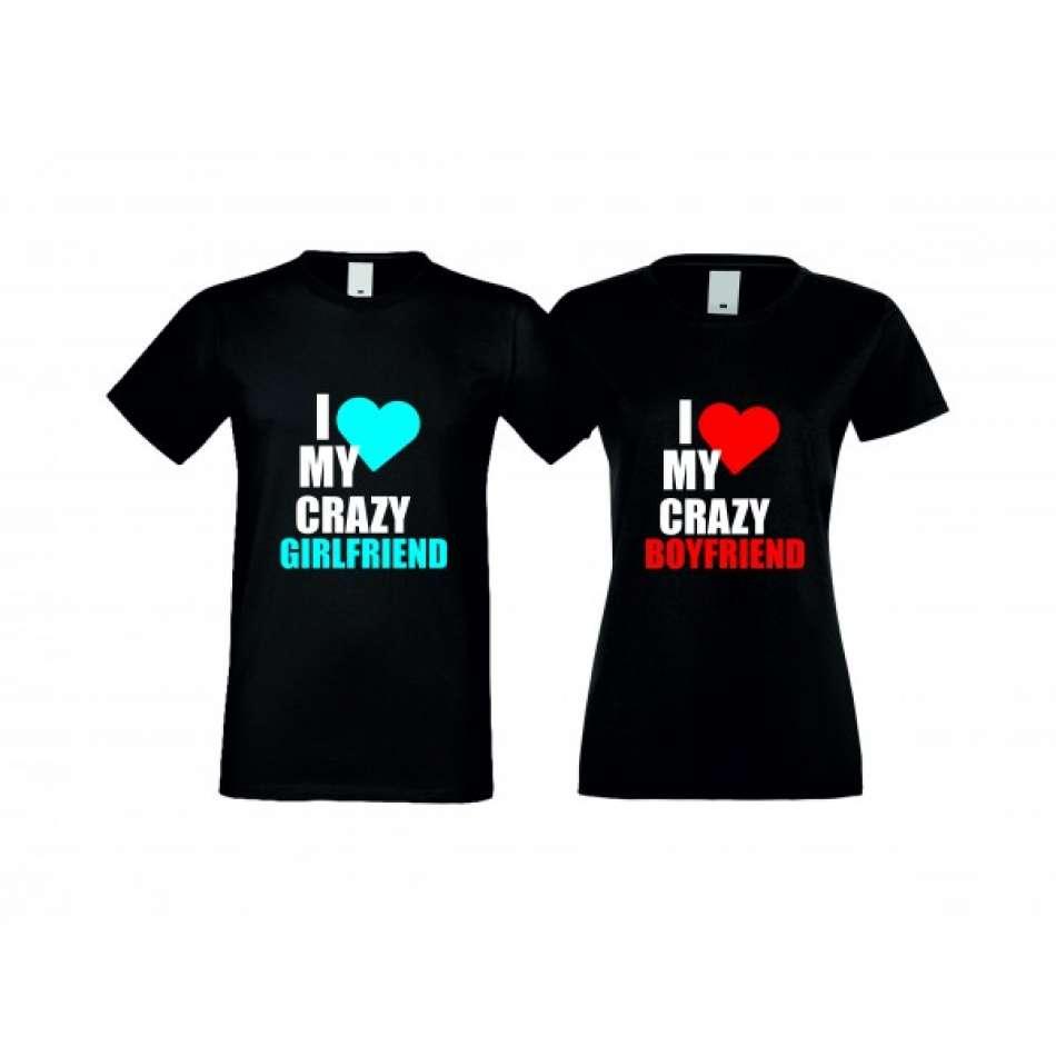 Trička pro pary I Love My Crazy crna S-CP-006B
