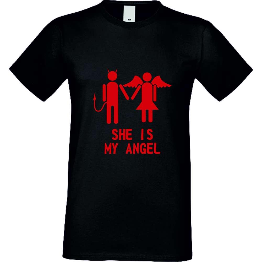 Panske tričko  She is My Angel crna S-M-031B