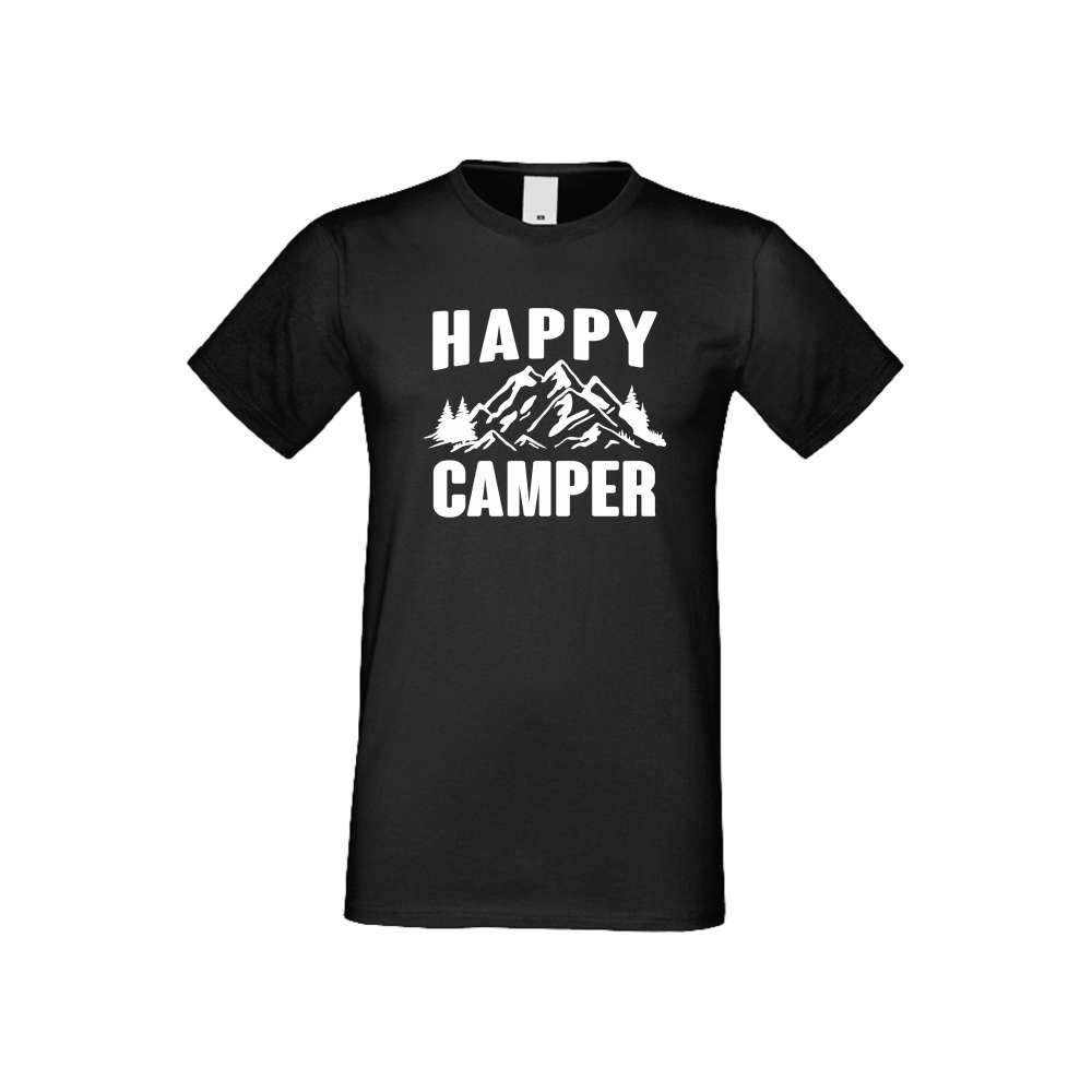Panske tričko  Happy Camper crna S-M-146B