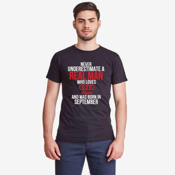 Černé pánské tričko Never Underestimate a Real Man Audi