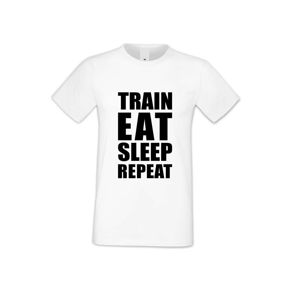 Panske tričko  Train, Eat, Sleep, Repeat  S-M-FIT-011