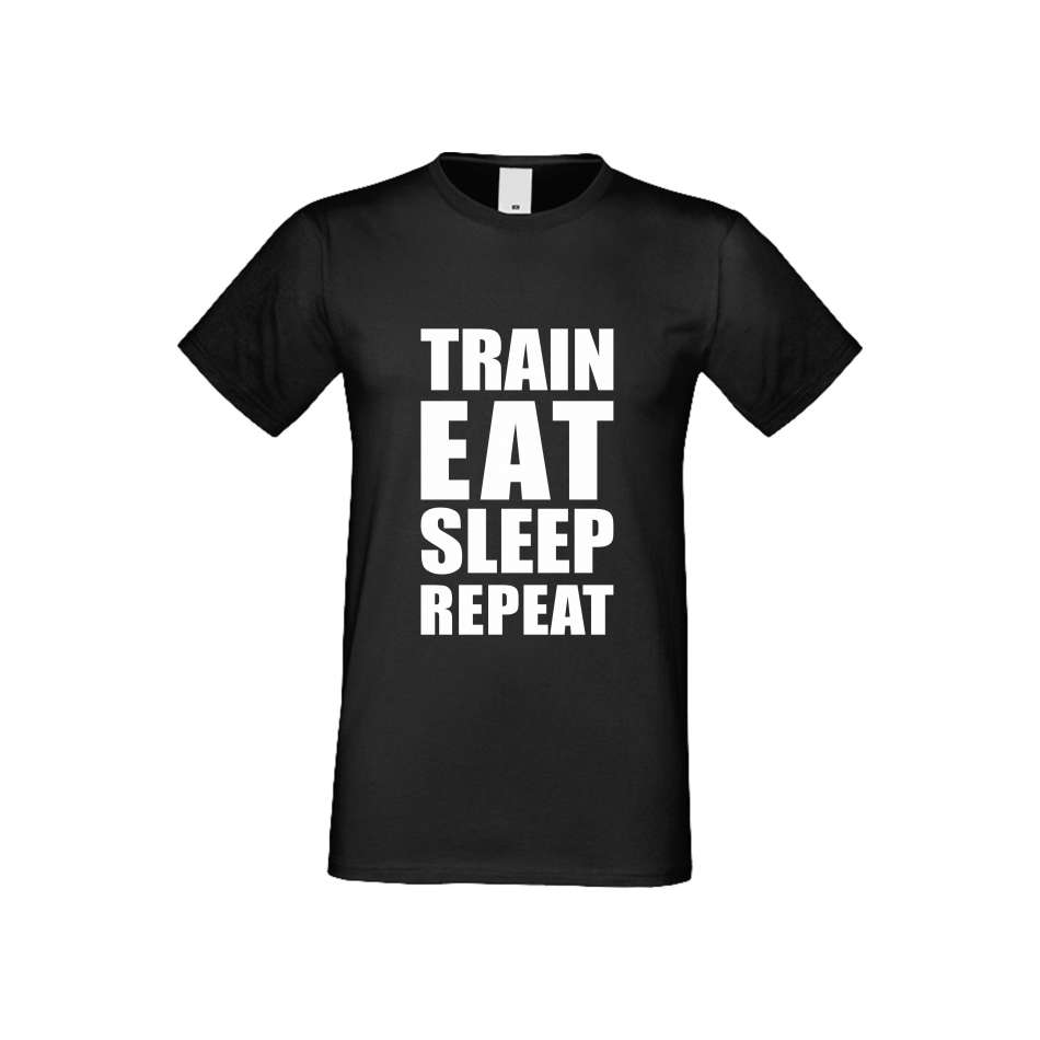 Panske tričko  Train, Eat, Sleep, Repeat crna S-M-FIT-011B