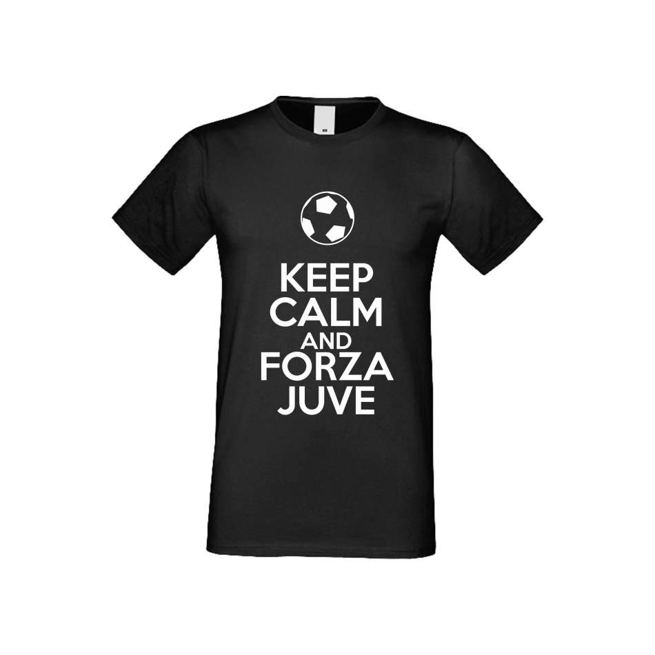 Panske tričko  KEEP CALM and FORZA JUVE crna S-M-FOOT-001B