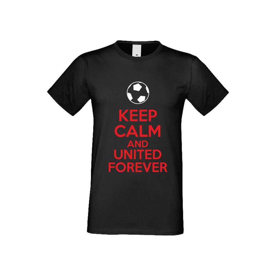 Panske tričko  KEEP CALM and UNITED FOREVER crna S-M-FOOT-002B