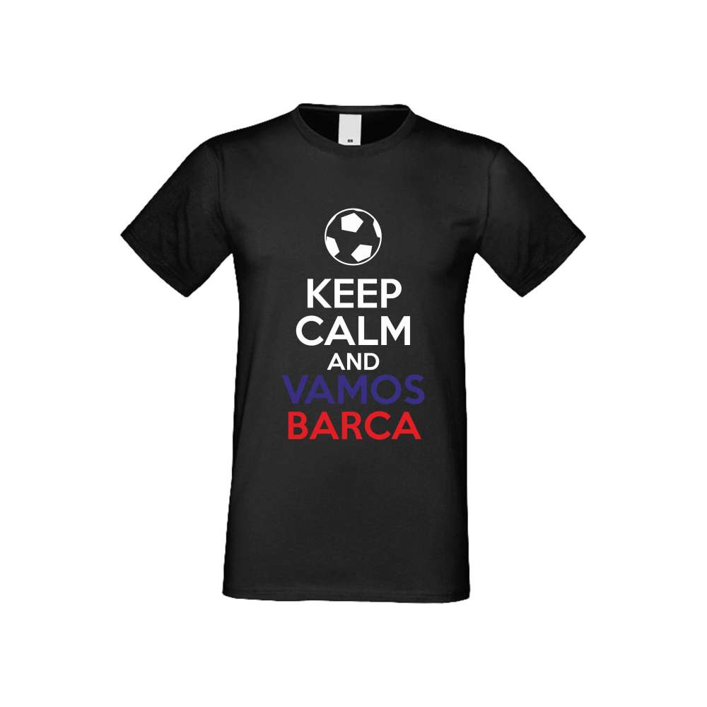 Panske tričko  KEEP CALM and VAMOS BARCA crna S-M-FOOT-007B