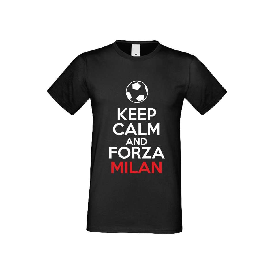 Panske tričko  KEEP CALM and FORZA MILAN crna S-M-FOOT-008B