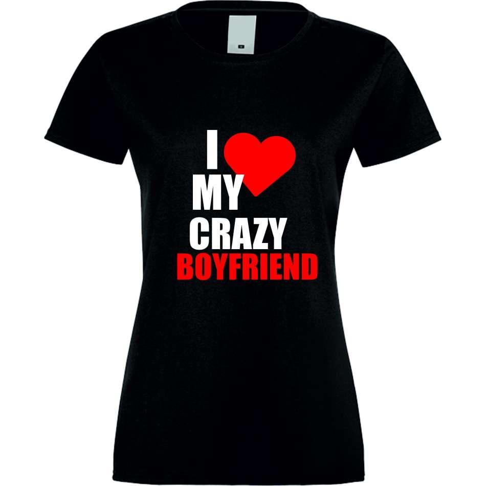 Damské tričko Love Crazy Boyfriend crna S-W-027B