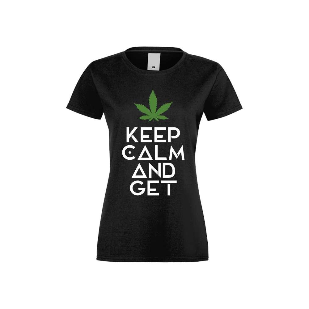 Damské tričko Keep Kalm and Get High crna S-W-136B