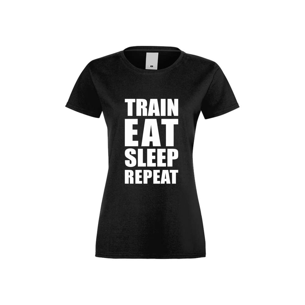Damské tričko Train, Eat, Sleep, Repeat crna S-W-FIT-011B