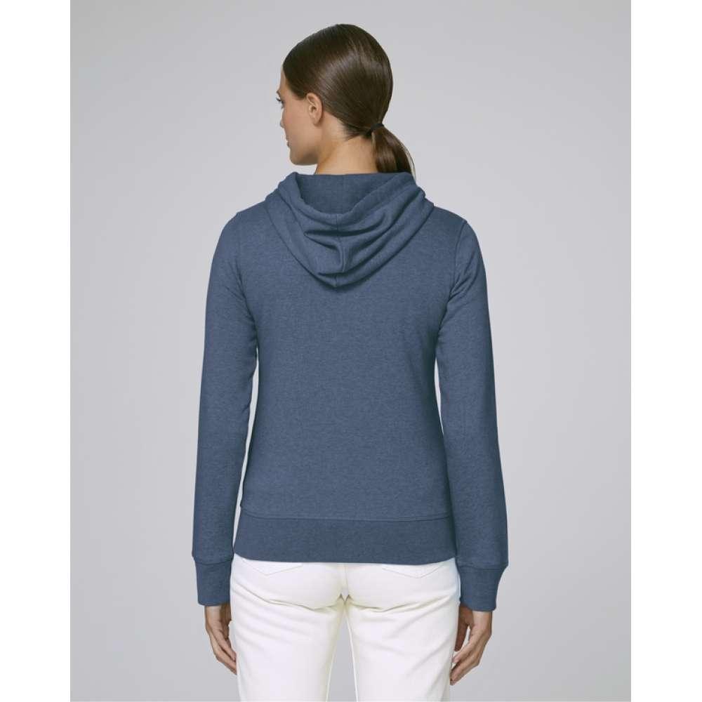 Modrá dámská mikina se zipem z organické bavlny