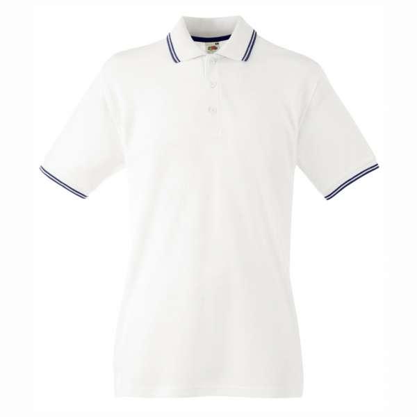 Pánské tričko Polo z 100% bavlny v bílé a tmavě modré barvě