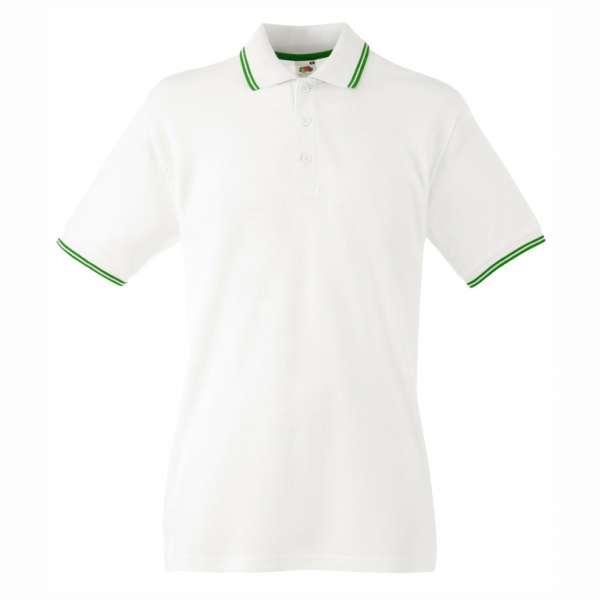 Pánské tričko Polo z 100% bavlny v bílé a zelené barvě